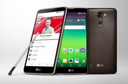 The right side, font and back view of the LG Stylus 2 in Brown