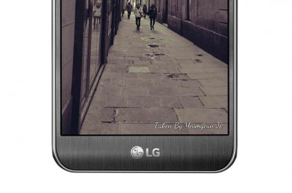 The front bottom half of the LG X cam in Titan Silver