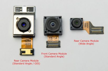The LG G5's two rear camera modules, and front camera module