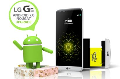 "The front view of the LG G5 in Silver, with the Android Nougat logo with a speech bubble reading ""LG G5 Android 7.0 Nougat Upgrade"""