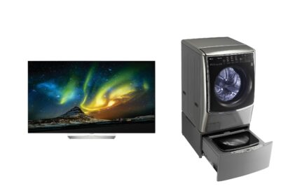 """The """"Best Television of the Year,"""" LG's B6P LG OLED 4K TV series, next to the """"Best Washer for New Parents,"""" the LG TWINWash™ laundry system, according to Reviewed.com."""