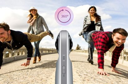 Image of LG 360 CAM capturing 360-degree footage of two couples engaging in a wheelbarrow race