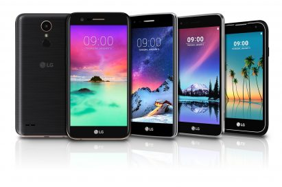 Front and rear view of five models of LG's K series smartphone lineup including the K10, K8, K4, K3
