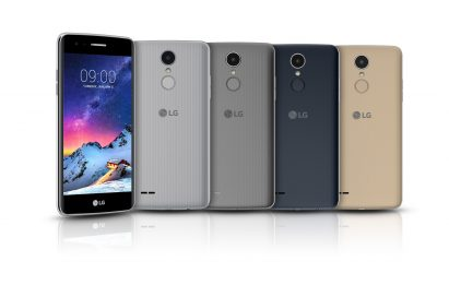 Front view of one model and back view of LG's new K8 smartphone in four color variants