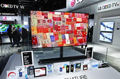 Another view of the award-winning LG SIGNATURE W7 OLED 4K TV on display at CES 2017.