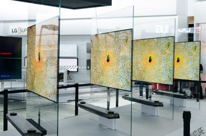 The LG SIGNATURE OLED TV W CES 2017 installation while moved one behind the other