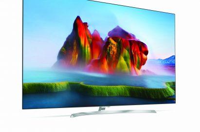 Slight side view of LG SUPER UHD TV with NanoCell Display model SJ9500