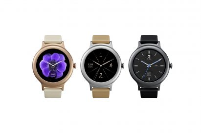 The front view of the LG Watch Style in Silver, Rose Gold and Titanium