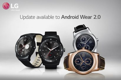 Four models from LG's smart watch lineup with message announcing availability of Android Wear 2.0 update