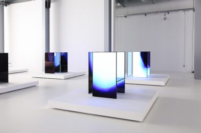 A side view of three installations found inside Tokujin Yoshioka's art exhibition, equipped with LG's OLED displays to showcase vivid colors and artwork to visitors