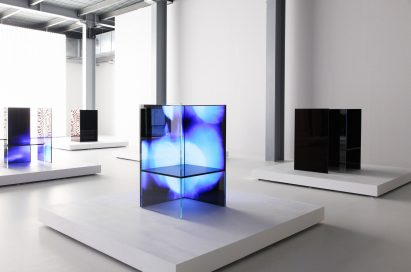 Another side view of multiple installations found inside Tokujin Yoshioka's art exhibition, equipped with LG's OLED displays to showcase vivid colors and artwork to visitors