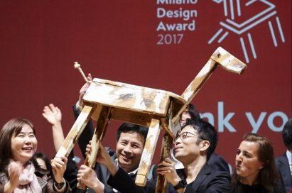 "TOKUJIN YOSHIOKA and the team celebrate their exhibition, ""TOKUJIN YOSHIOKA x LG: S.F_Senses of the Future,"" winning the top prize at Milano Design Award 2017."