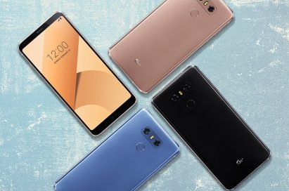 The front and back view of the LG G6+ in Optical Marine Blue, Optical Astro Black and Optical Terra Gold