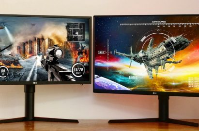 Front view of the LG GK monitor models 27GK750 and 32GK850 side-by-side