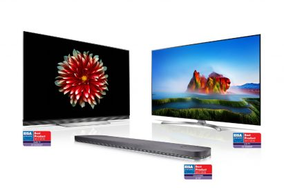Ultra-slim LG OLED TV (model OLED65E7), LG SUPER UHD TV (model 55SJ850V) and LG Soundbar (model SJ9) with EISA AWARD Best Product logos attached to each product