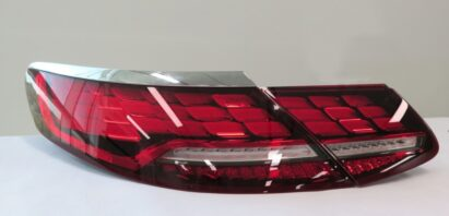 The LG-designed OLED rear lamp for vehicles before car installation on display at the Frankfurt Motor Show.