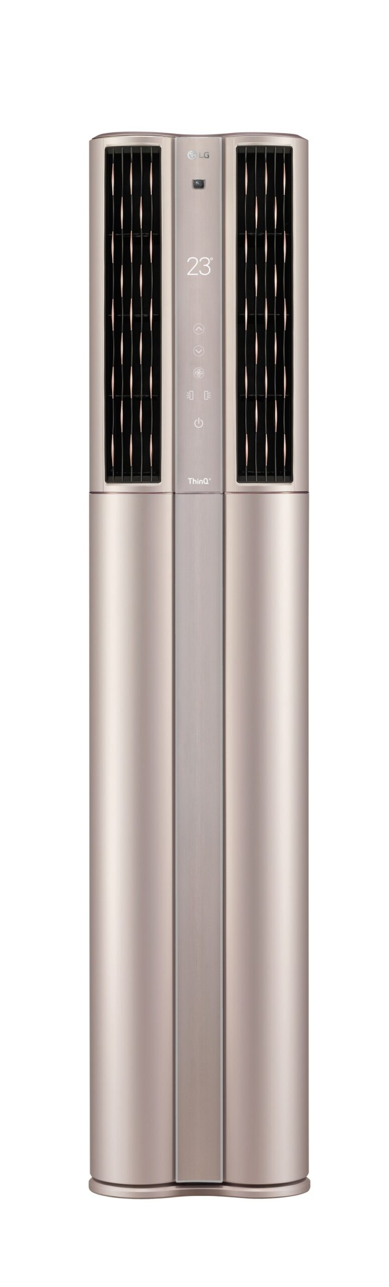 Front view of LG DUALCOOL ThinQ™ Stand Inverter air conditioner with vents open