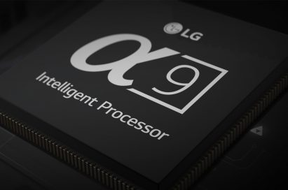 Close-up of LG's Alpha 9 Intelligent Processor fitted into an LG ThinQ AI TV circuit board