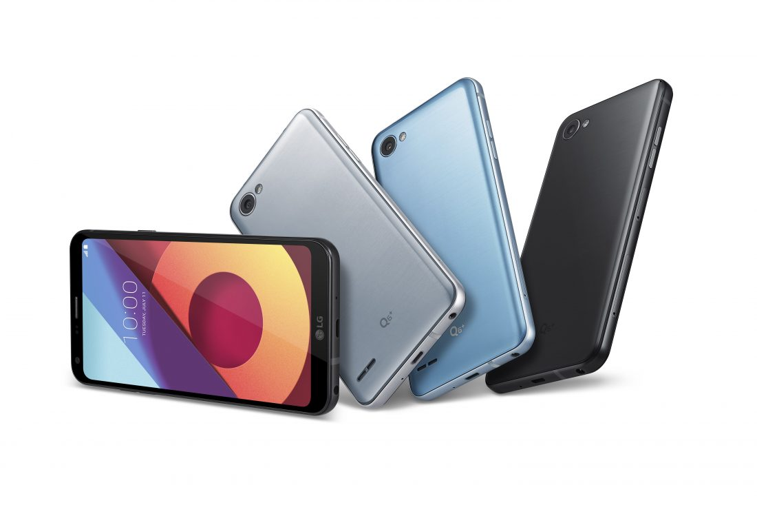 Front and rear view of four LG Q6+ phones to show color options