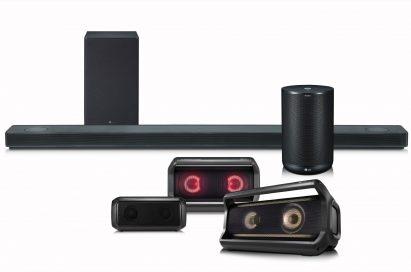 LG's Speaker Lineup including its LG SoundBar, Portable speaker and ThinQ Speaker