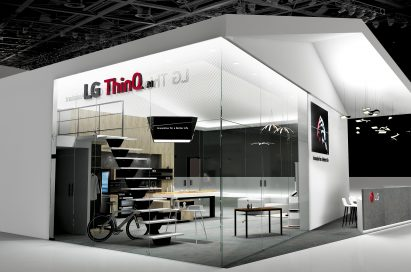 A panorama view of LG's DeepThinQ 1.0 booth.