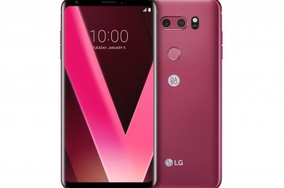 Two LG V30 Raspberry Rose smartphones side-by-side, one facing forward with its display visible, and the other showing its rear casing