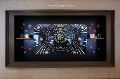 A view of the LG Even Bezel OLED Video Wall displayed at ISE 2018