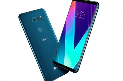 The front and rear view of the LG V30SThinQ in New Moroccan Blue positioned to form a V shape
