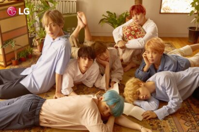 Poster featuring international K-Pop boy band, BTS, who will collaborate with LG on a diverse marketing campaign