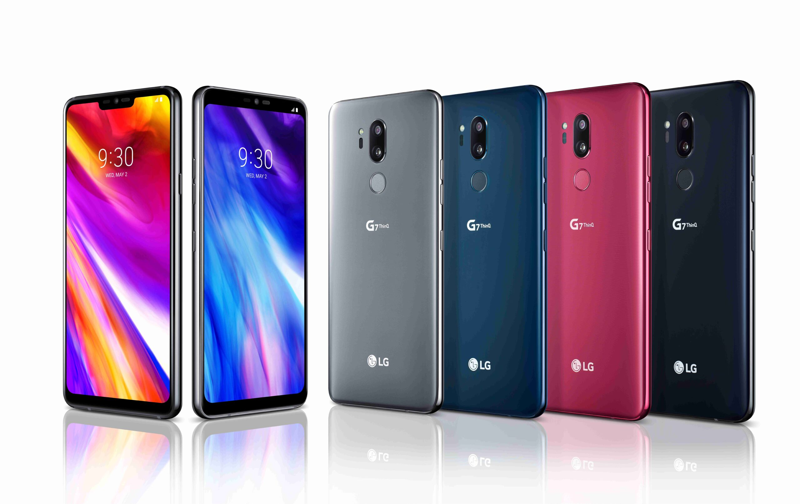 The front and rear view of the LG G7 ThinQ in New Platinum Gray, New Moroccan Blue, Raspberry Rose and New Aurora Black, side-by-side
