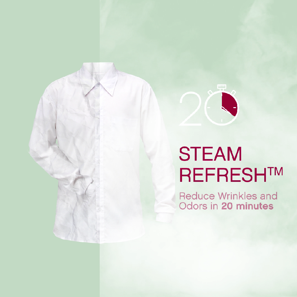 The image describes that LG's Steam Refresh technology can reduce wrinkles and odors of clothing in 20 minutes.