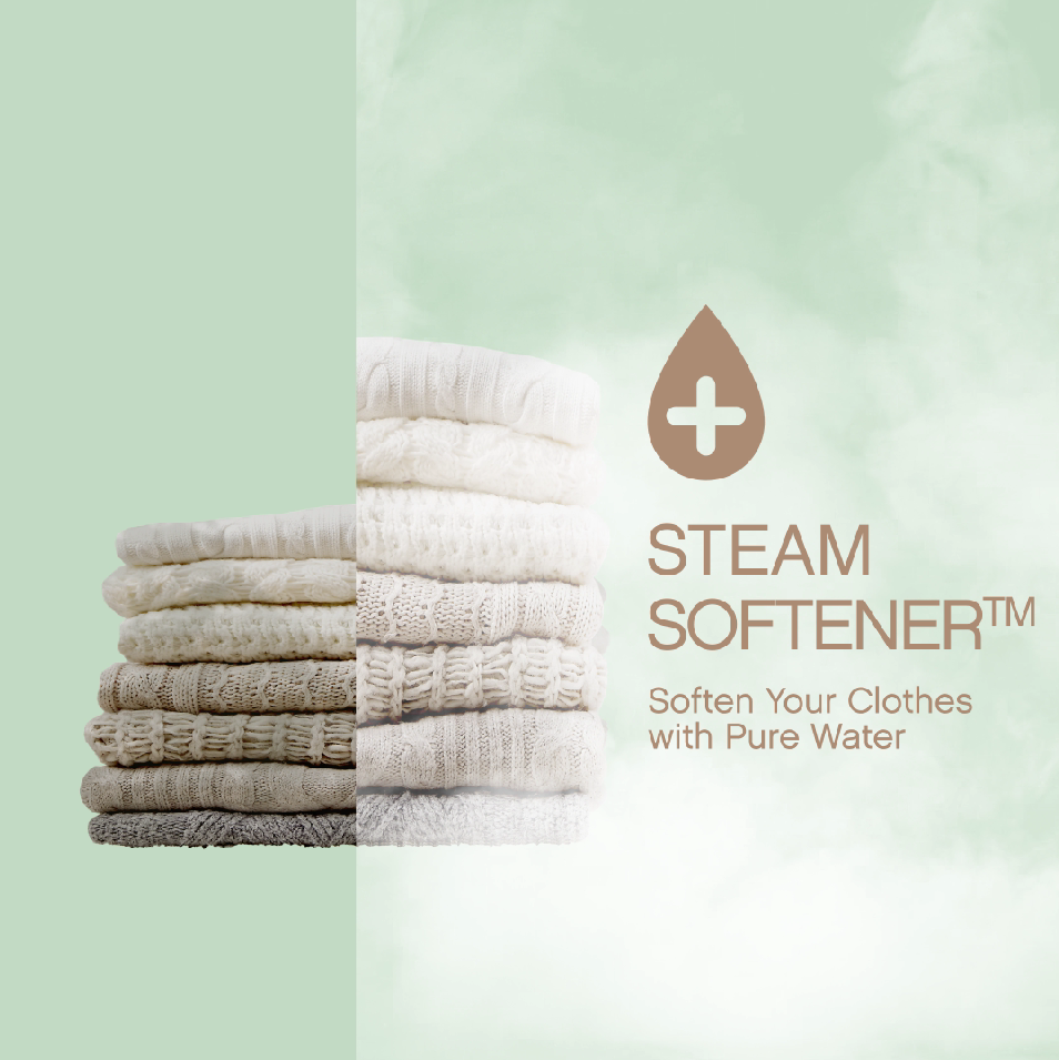 The image describes the way the Steam Softener technology works in LG washing machines