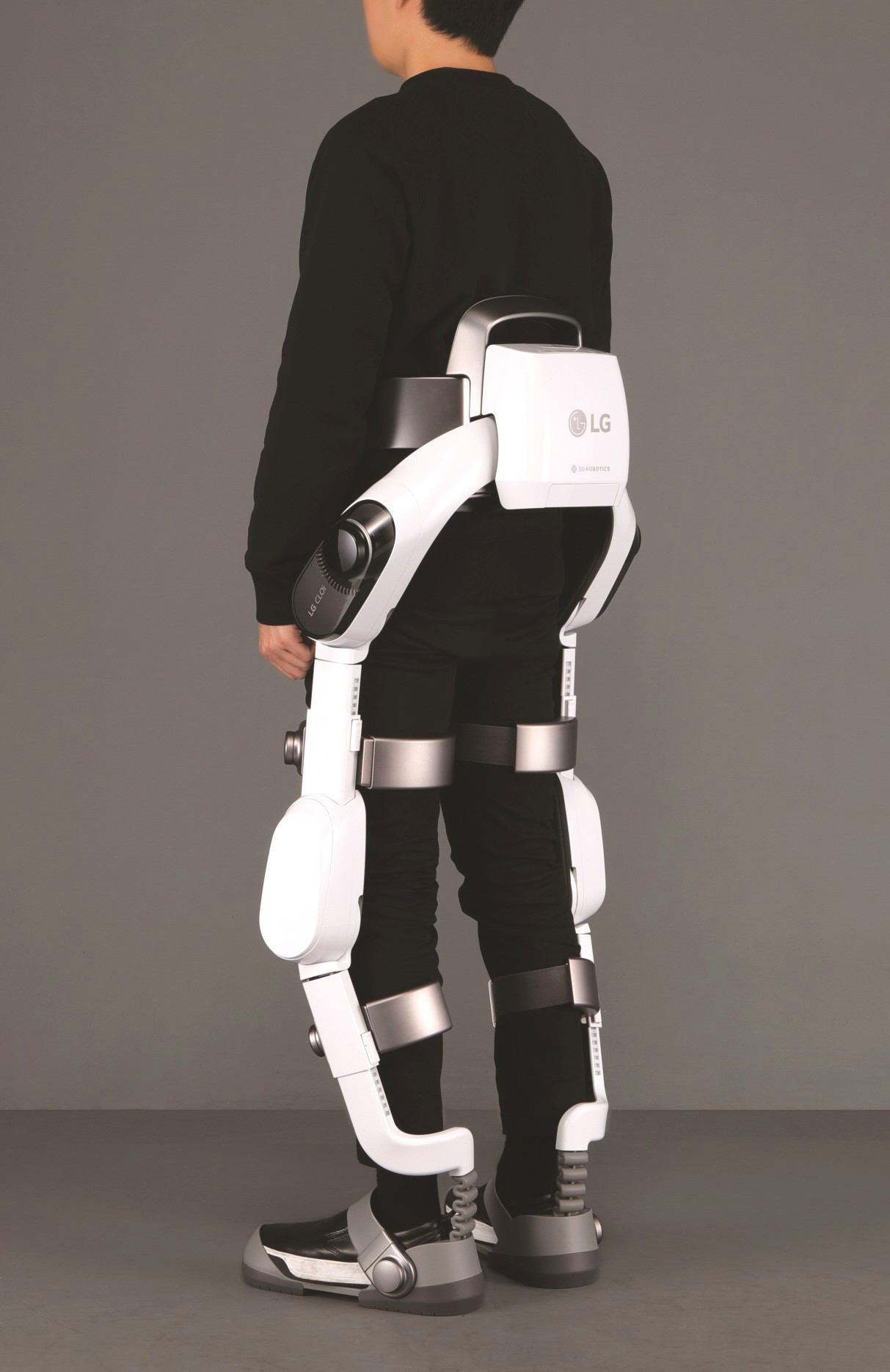 Rear view of man wearing LG CLOi SuitBot