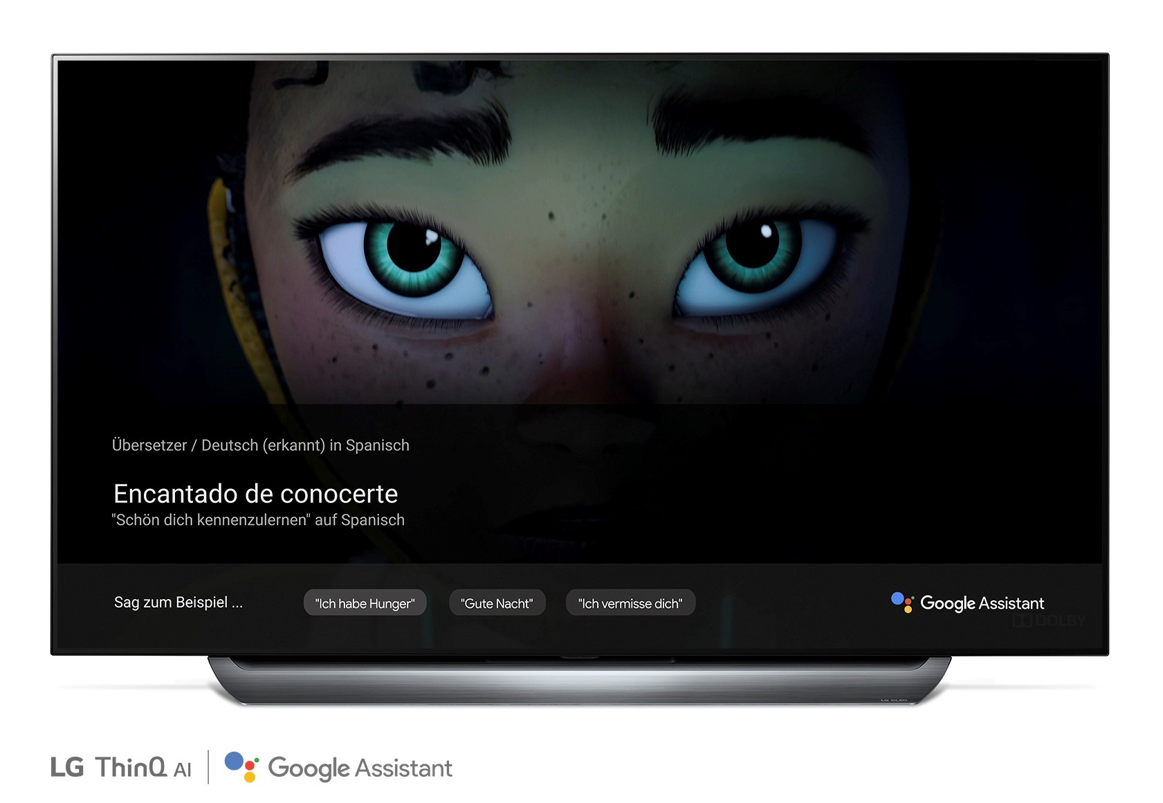 A front view of LG OLED TV showing Google Translate function
