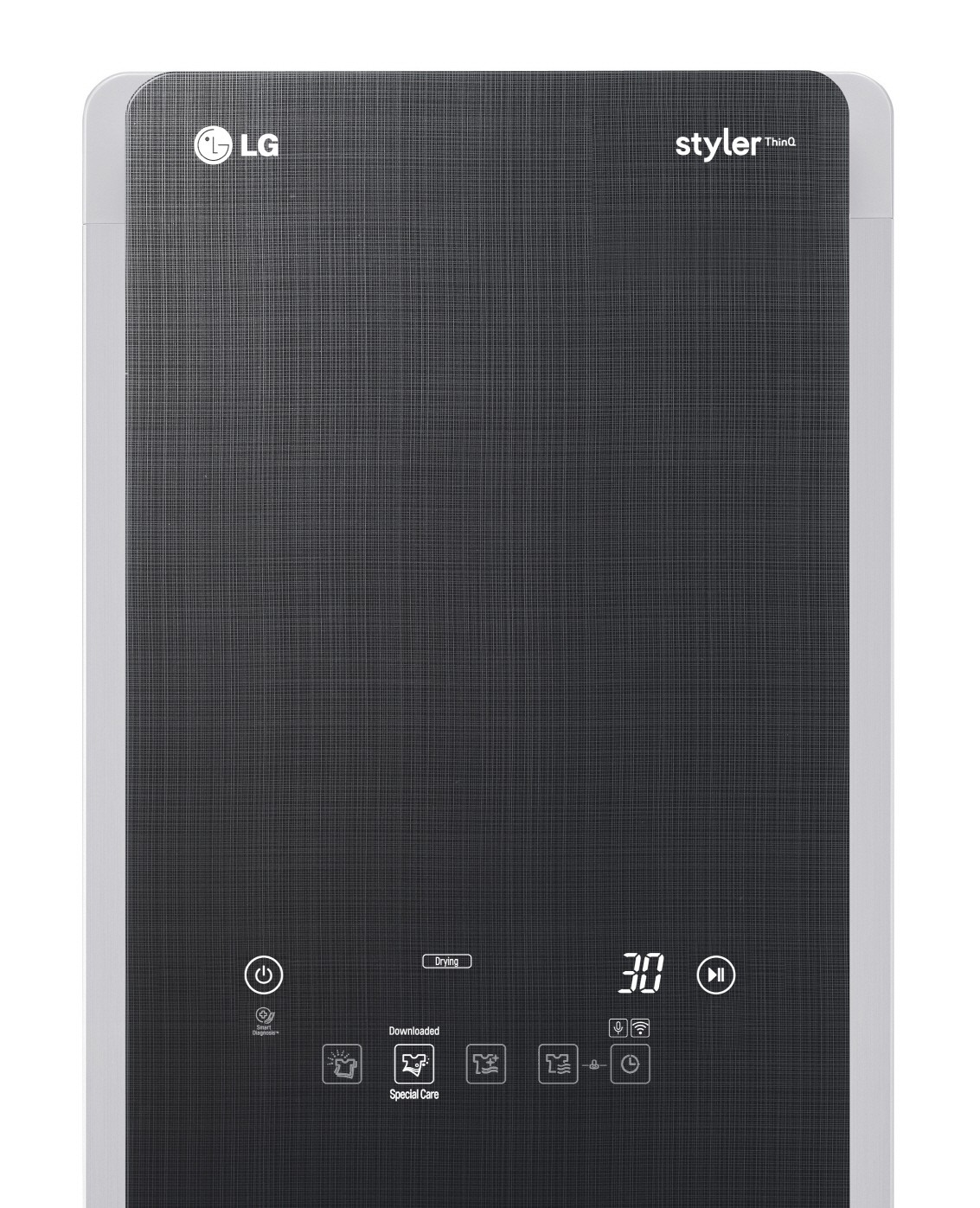 Close up of LG Styler door showing the control panel