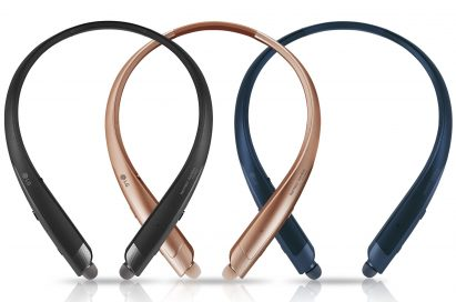 The top view of the LG TONE Platinum SE in Black, Gold and Blue, side-by-side