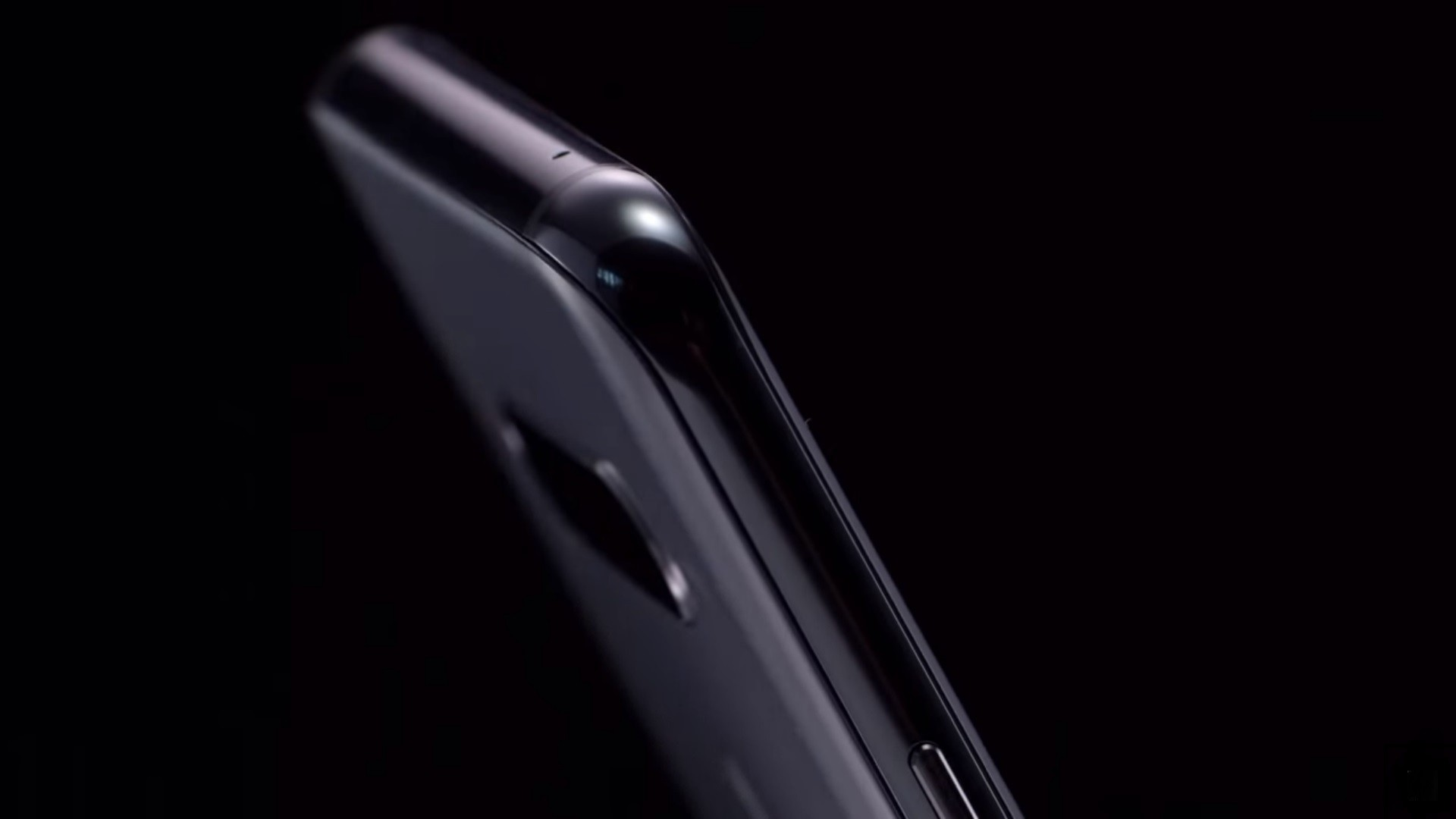 The top, side view of the LG V40 ThinQ in New Aurora Black
