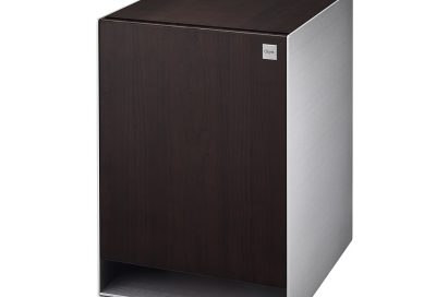 Side view of LG OBJET Refrigerator with LED lighting off taken from front-right at a 15-degree angle