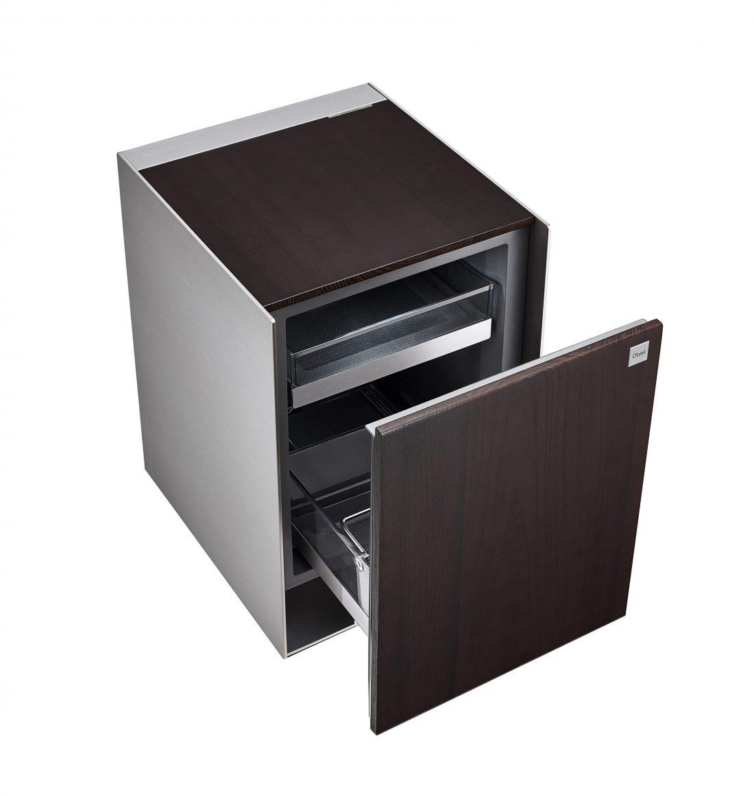 View of an empty LG OBJET Refrigerator with door open