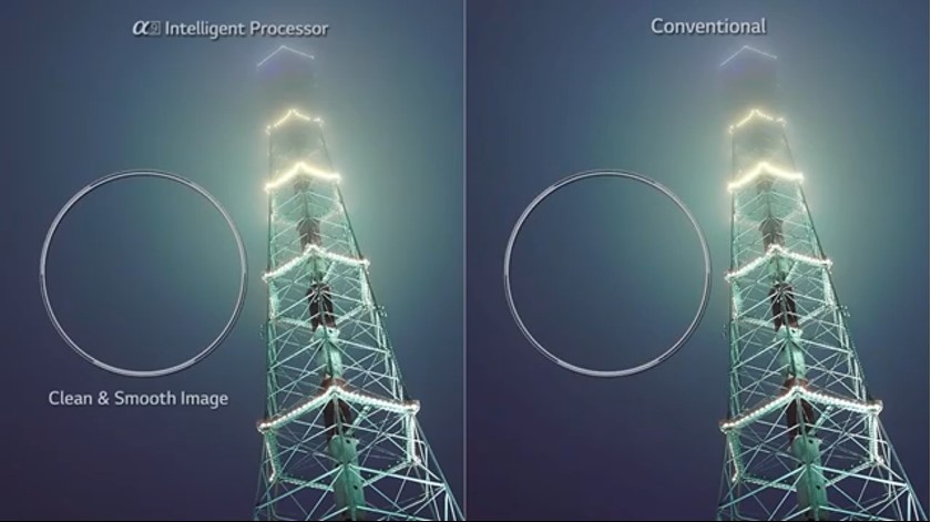 A video clip to compare the picture quality of LG's Alpha 9 Intelligent Processor with that of the conventional television.