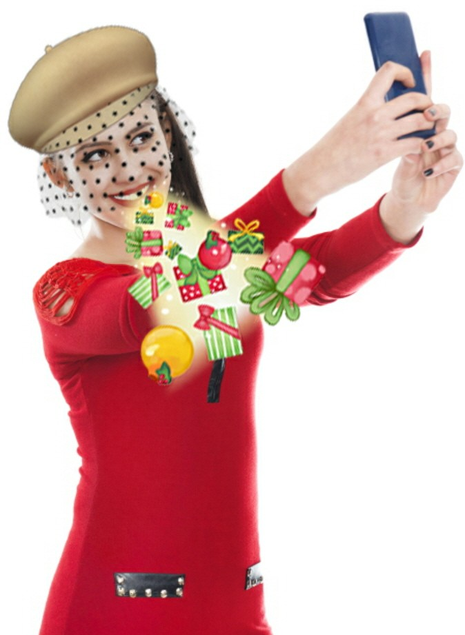 """Another woman's selfie, her face is decorated by """"the hat with a veil"""" AR sticker."""