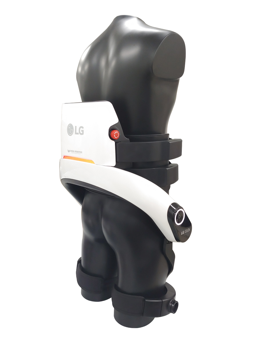 Rear view of LG CLOi SuitBot on mannequin