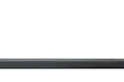 A front view of LG Soundbar model SL10YG and LG Wireless Rear Speaker Kit model SPK 8
