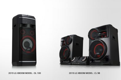 A left-side view of LG XBOOM model OL100 and a right-side view of LG XBOOM model CL98