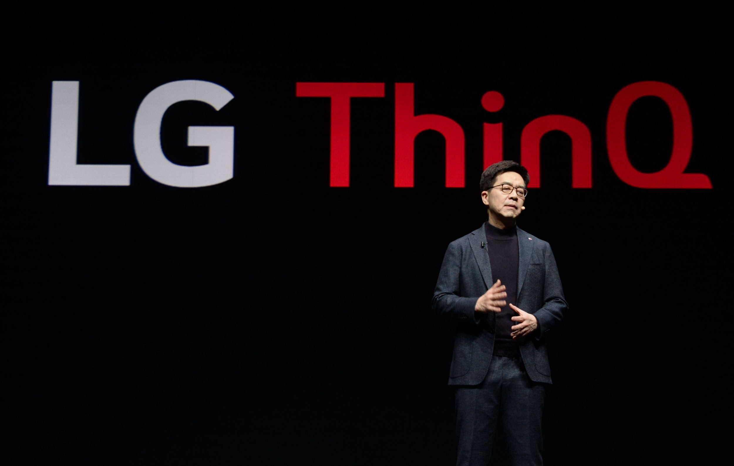 LG Electronics president and chief technology officer, Dr. I.P. Park, addresses the audience in his keynote at CES 2019.