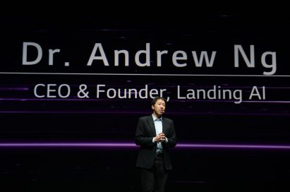 Dr. Andrew Ng, CEO and founder of Landing AI, addresses the audience.
