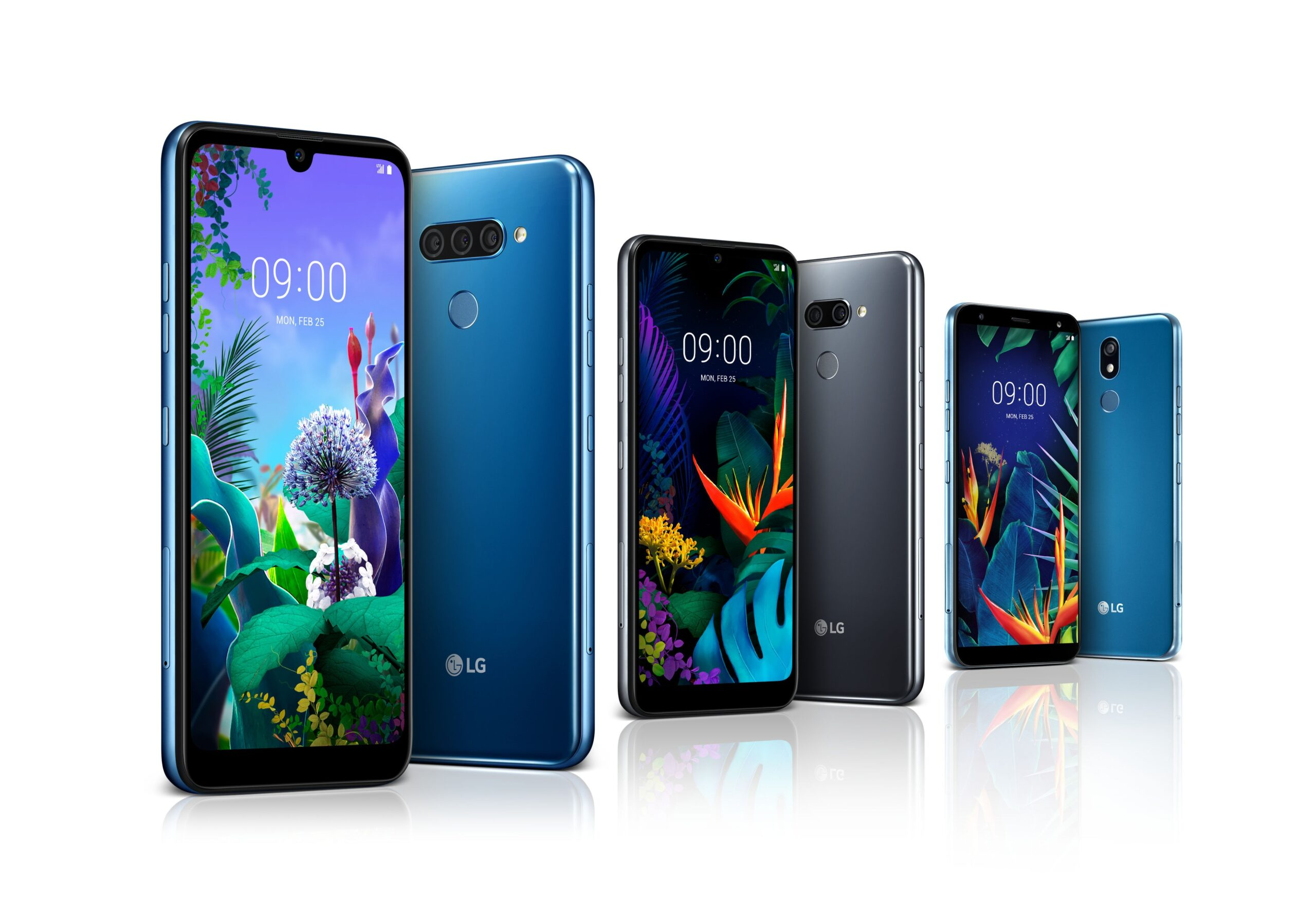 The front and rear view of the LG Q60 in New Moroccan Blue, the LG K50 in New Platinum Gray and LG K40 in New Moroccan Blue
