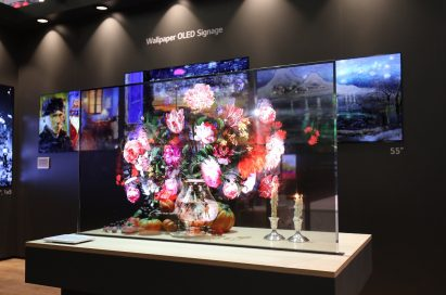 LG's Wallpaper OLED signage presented at ISE 2019.