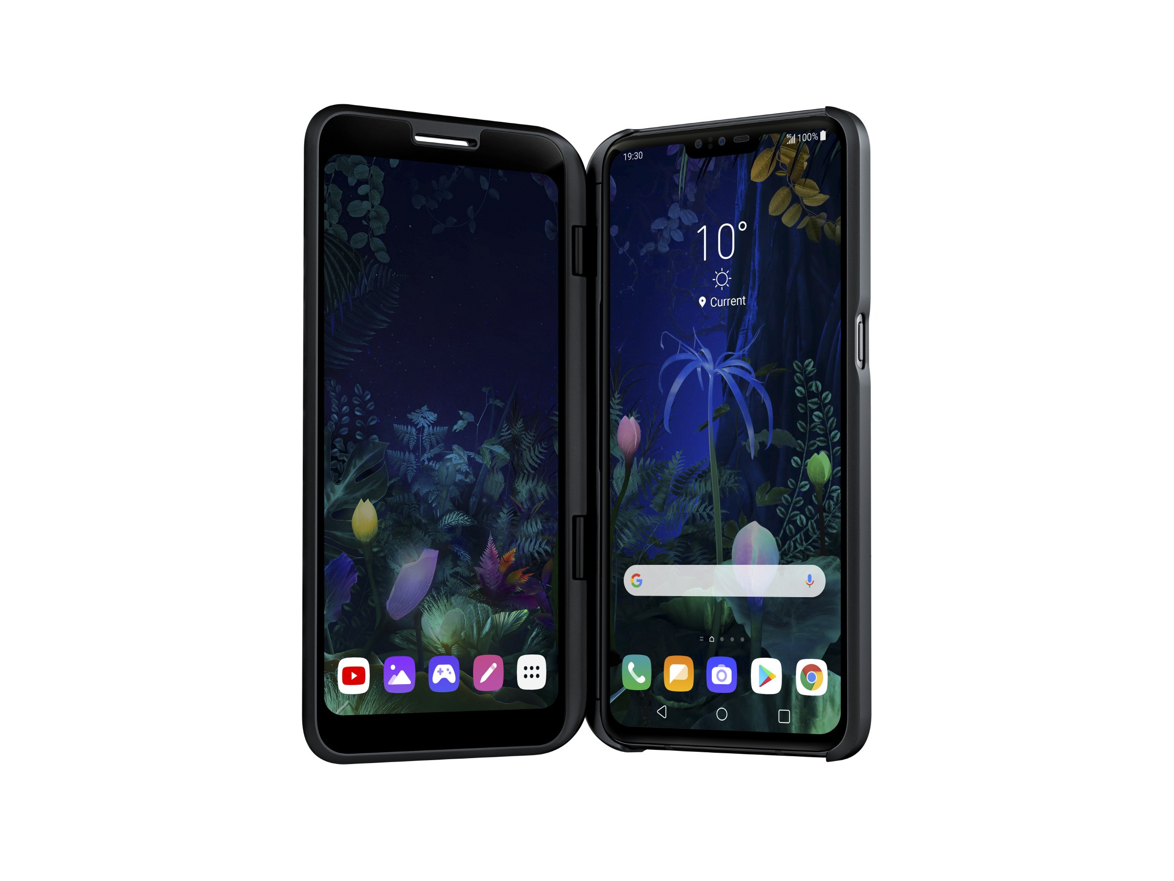 The front view of the LG V50 ThinQ 5G connected to the LG Dual Screen
