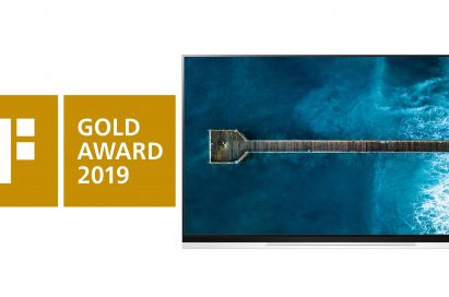 Logo of iF Gold Award and the LG OLED TV E9 image.
